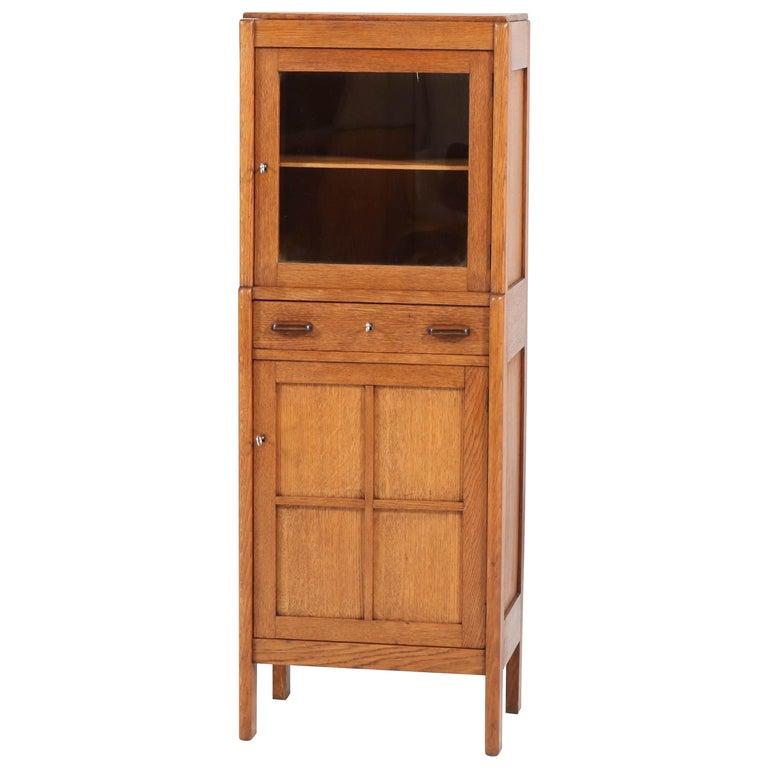 Oak Art Deco Amsterdam School Cabinet, 1920s For Sale