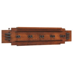 Oak Art Deco Amsterdam School Coat Rack, 1920s
