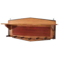 Oak Art Deco Amsterdam School Coat Rack by P.E.L. Izeren for Genneper Molen