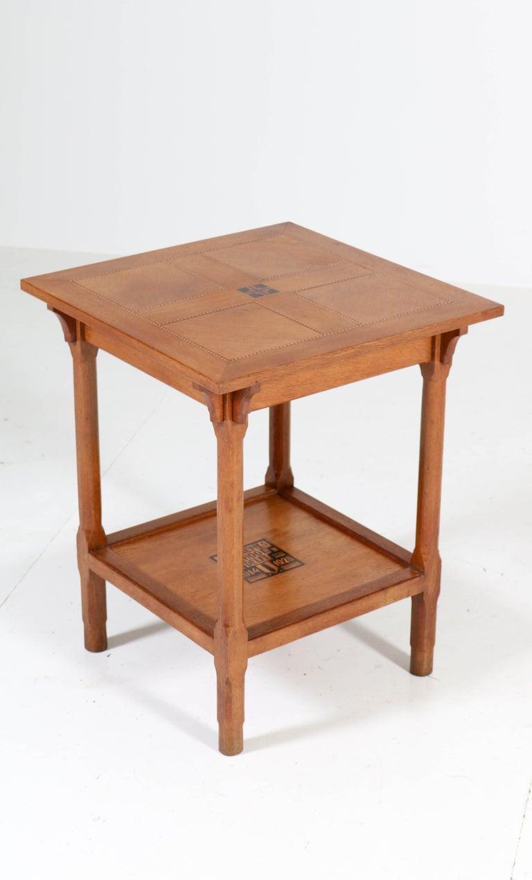 Early 20th Century Oak Art Deco Amsterdam School Coffee Table by Ambachts School Delft, 1928