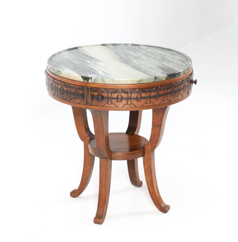 Oak Art Deco Amsterdam School Coffee Table by 't Woonhuys Amsterdam, 1920s For Sale 5