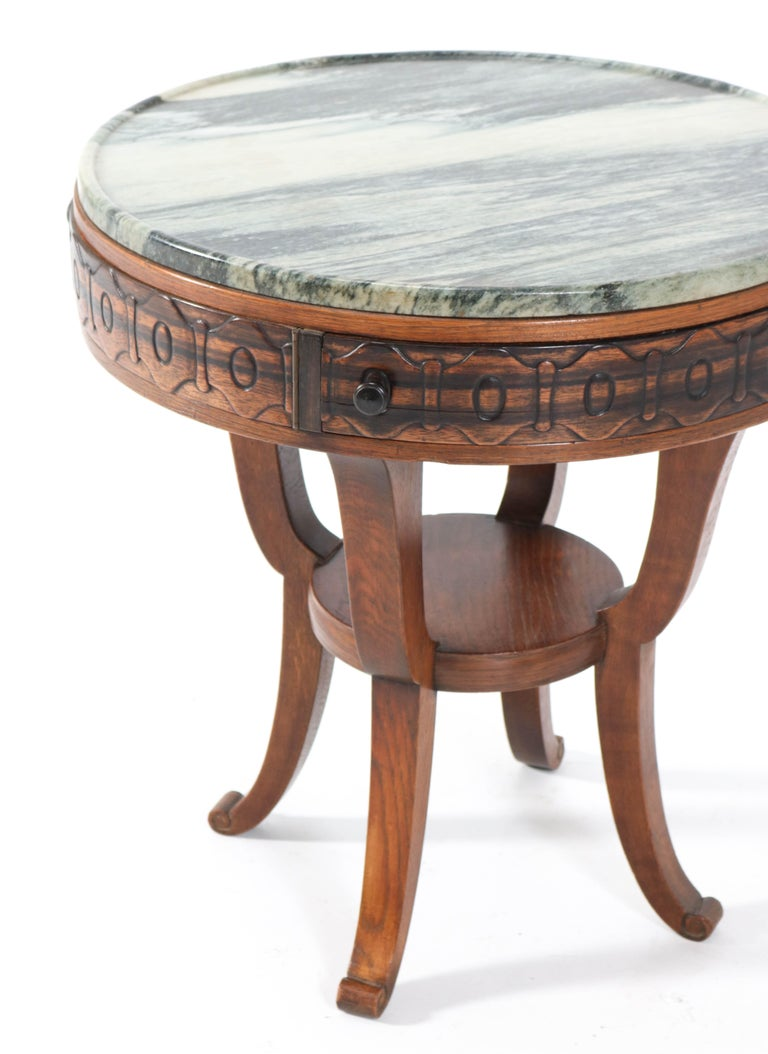 Oak Art Deco Amsterdam School Coffee Table by 't Woonhuys Amsterdam, 1920s In Good Condition For Sale In Amsterdam, NL