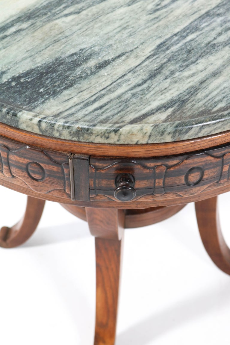 Early 20th Century Oak Art Deco Amsterdam School Coffee Table by 't Woonhuys Amsterdam, 1920s For Sale
