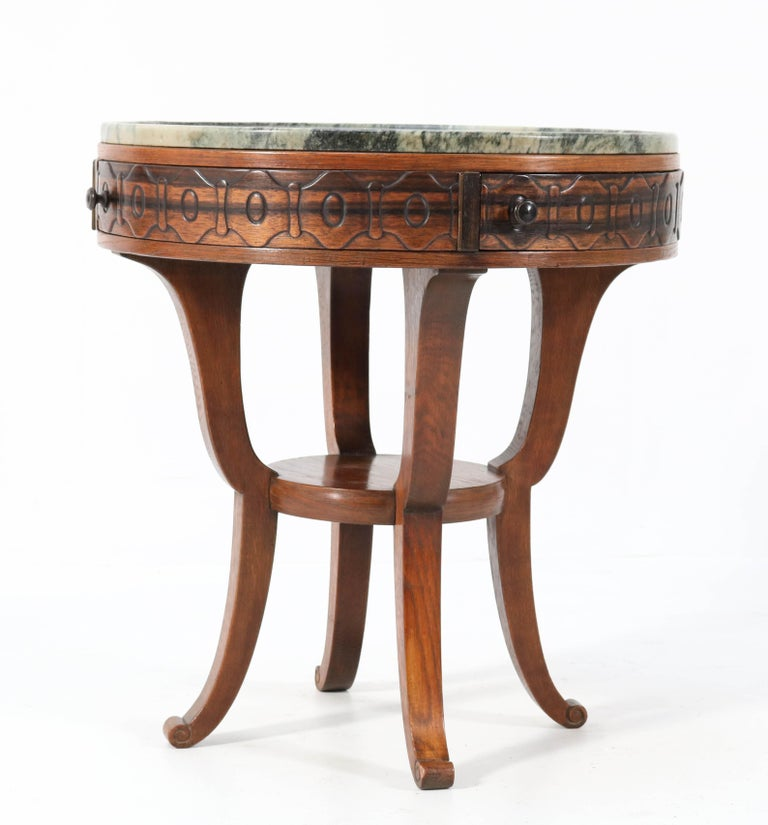 Oak Art Deco Amsterdam School Coffee Table by 't Woonhuys Amsterdam, 1920s For Sale 1