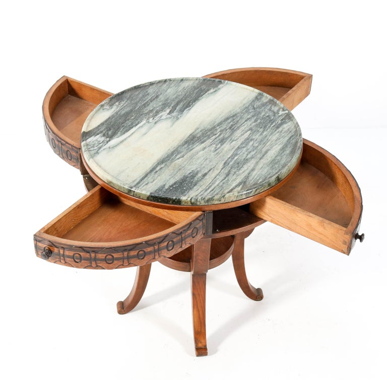 Oak Art Deco Amsterdam School Coffee Table by 't Woonhuys Amsterdam, 1920s For Sale 2