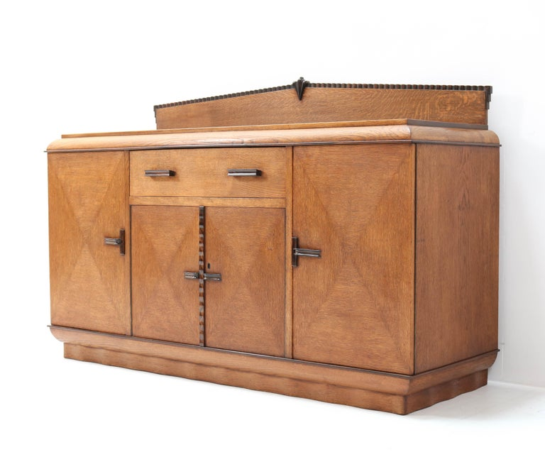 Oak Art Deco Amsterdam School Credenza or Sideboard by Fa. Drilling Amsterdam In Good Condition For Sale In Amsterdam, NL