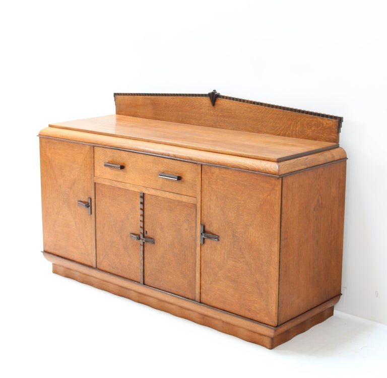 Oak Art Deco Amsterdam School Credenza or Sideboard by Fa. Drilling Amsterdam For Sale 1