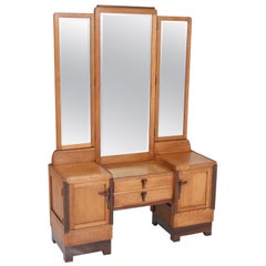 Oak Art Deco Amsterdam School Dressing Table or Vanity, 1920s