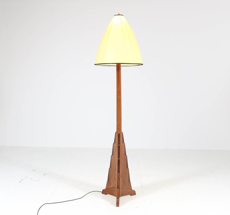 Dutch Oak Art Deco Amsterdam School Floor Lamp, 1920s For Sale