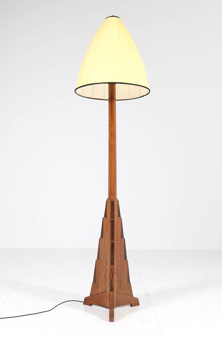 Early 20th Century Oak Art Deco Amsterdam School Floor Lamp, 1920s For Sale