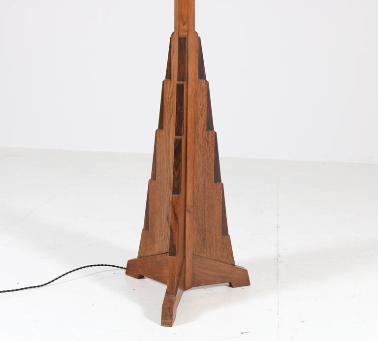 Silk Oak Art Deco Amsterdam School Floor Lamp, 1920s For Sale