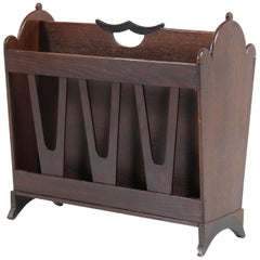 Oak Art Deco Amsterdam School Magazine Rack by Willem Penaat for Metz & Co.