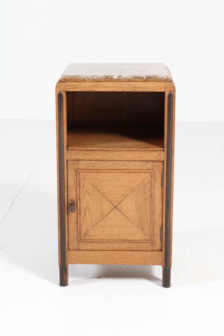 Oak Art Deco Amsterdam School Nightstands or Bedside Tables, 1920s For Sale 4