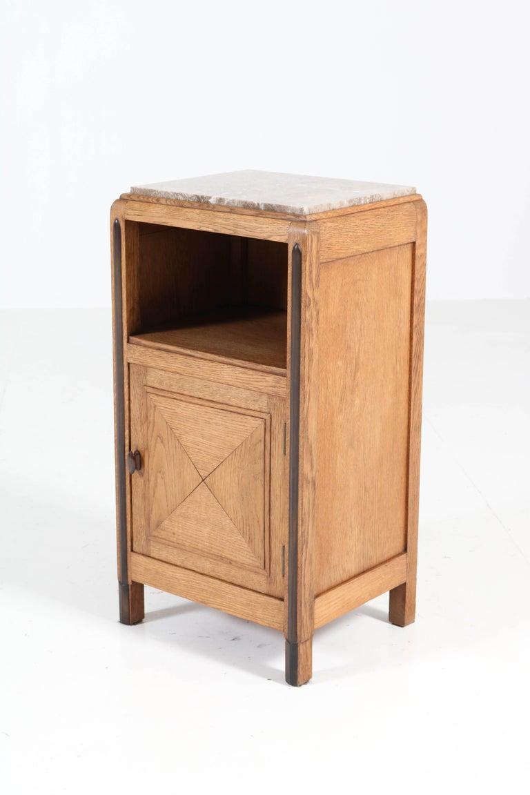 Oak Art Deco Amsterdam School Nightstands or Bedside Tables, 1920s For Sale 5