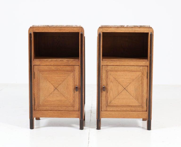 Dutch Oak Art Deco Amsterdam School Nightstands or Bedside Tables, 1920s For Sale