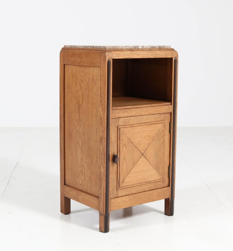 Oak Art Deco Amsterdam School Nightstands or Bedside Tables, 1920s For Sale 1