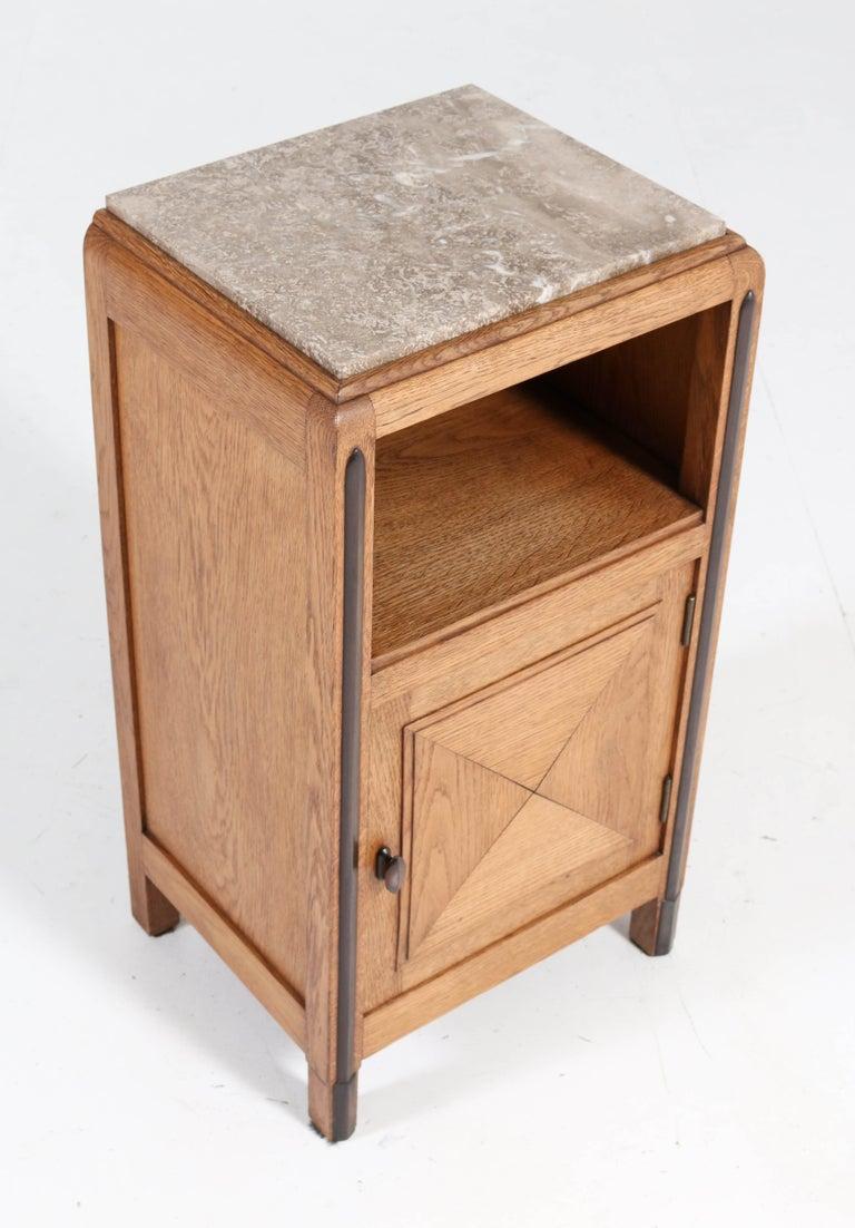 Oak Art Deco Amsterdam School Nightstands or Bedside Tables, 1920s For Sale 2