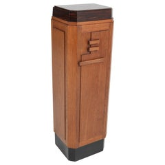 Oak Art Deco Amsterdam School Pedestal, 1920s