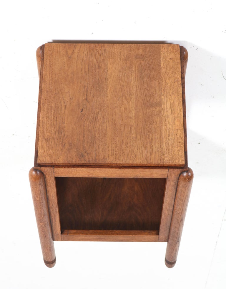 Oak Art Deco Amsterdam School Pedestal Table, 1920s For Sale 5