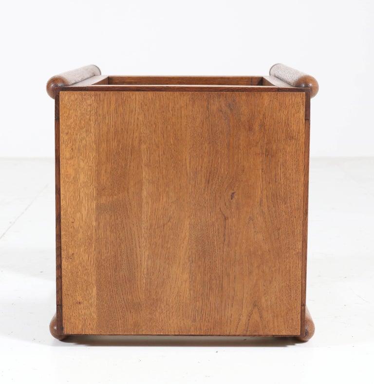 Oak Art Deco Amsterdam School Pedestal Table, 1920s For Sale 6