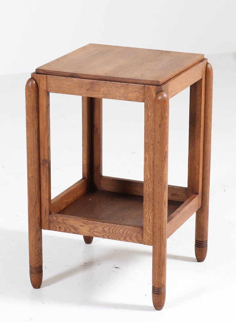 Dutch Oak Art Deco Amsterdam School Pedestal Table, 1920s For Sale