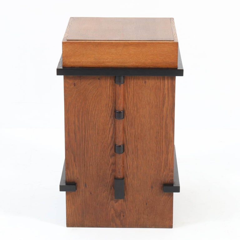 Early 20th Century Oak Art Deco Amsterdam School Pedestal Table, 1920s For Sale