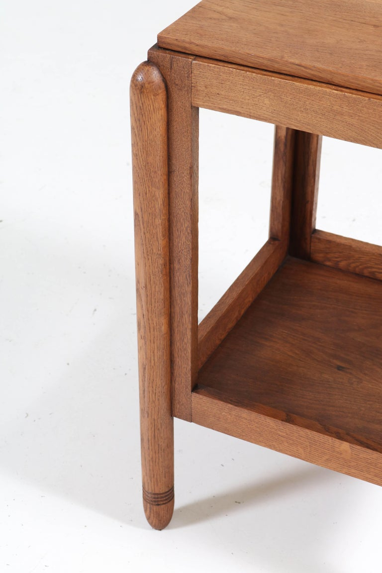 Oak Art Deco Amsterdam School Pedestal Table, 1920s For Sale 1