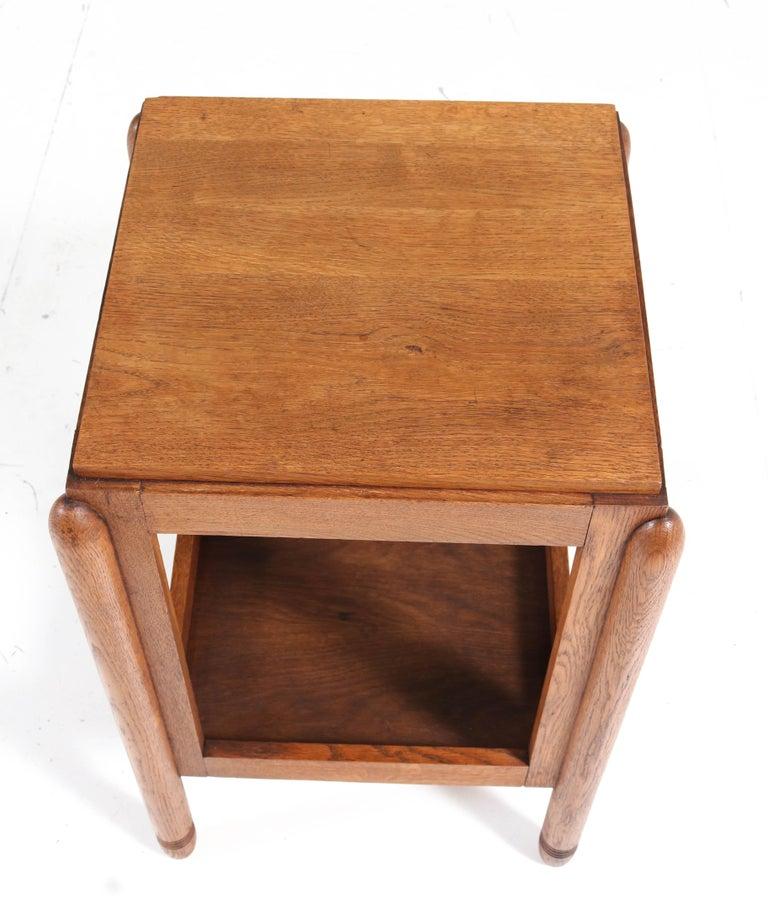 Oak Art Deco Amsterdam School Pedestal Table, 1920s For Sale 2