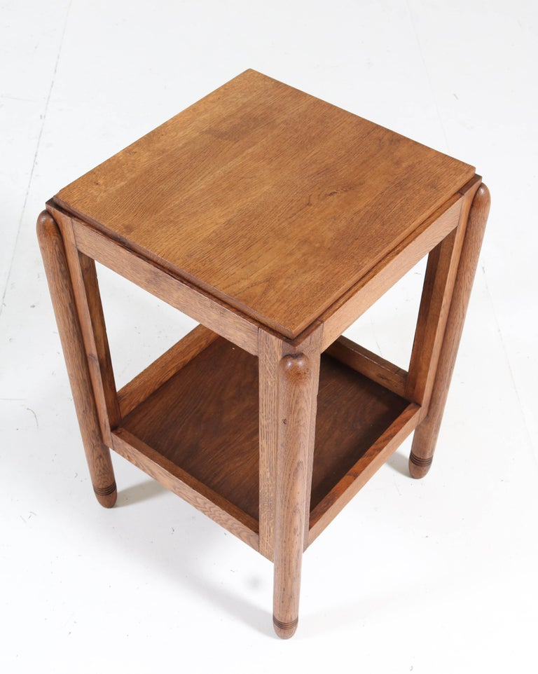 Oak Art Deco Amsterdam School Pedestal Table, 1920s For Sale 3