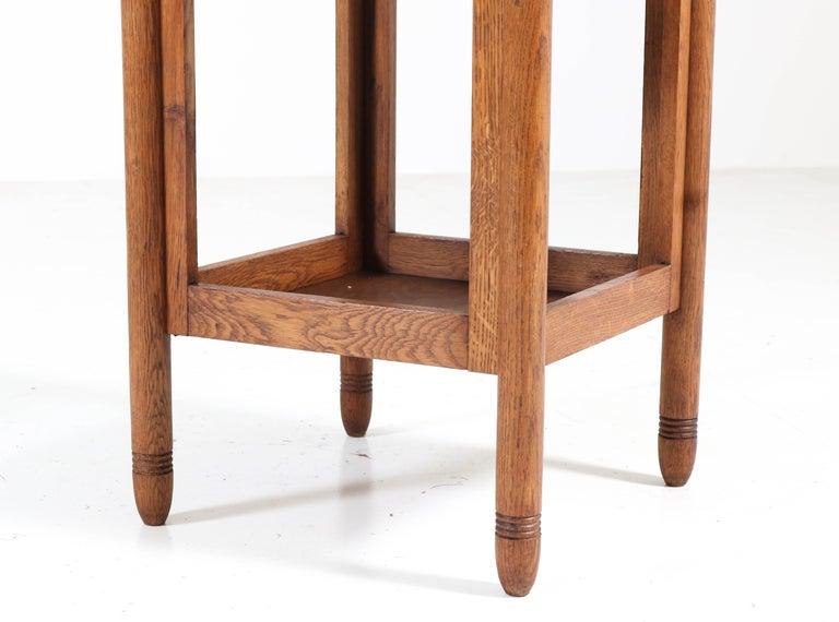 Oak Art Deco Amsterdam School Pedestal Table, 1920s For Sale 4
