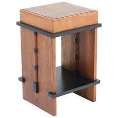 Oak Art Deco Amsterdam School Pedestal Table, 1920s