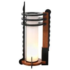 Oak Art Deco Amsterdam School Table Lamp, 1920s