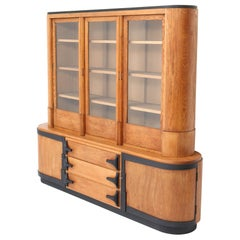 Oak Art Deco Amsterdam School Two Piece Bookcase Attributed to C.J. Blaauw