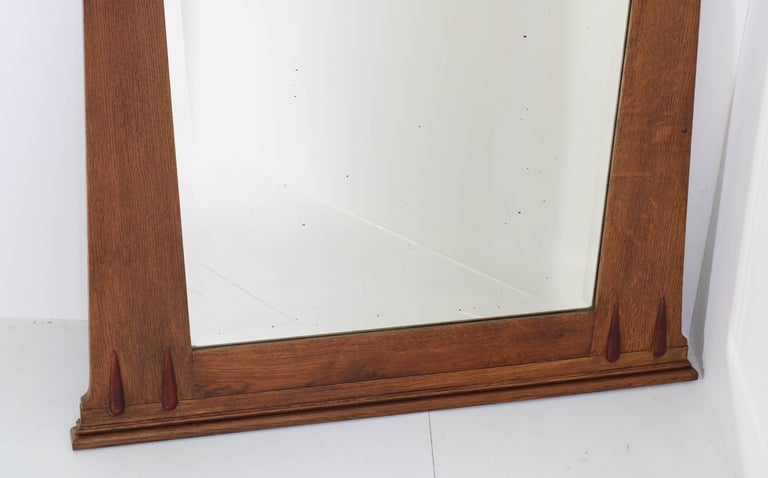 Oak Art Deco Amsterdam School Wall Mirror with Beveled Glass, 1920s In Good Condition For Sale In Amsterdam, NL