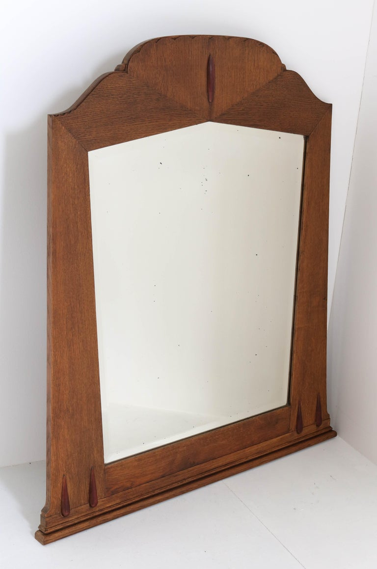 Early 20th Century Oak Art Deco Amsterdam School Wall Mirror with Beveled Glass, 1920s For Sale