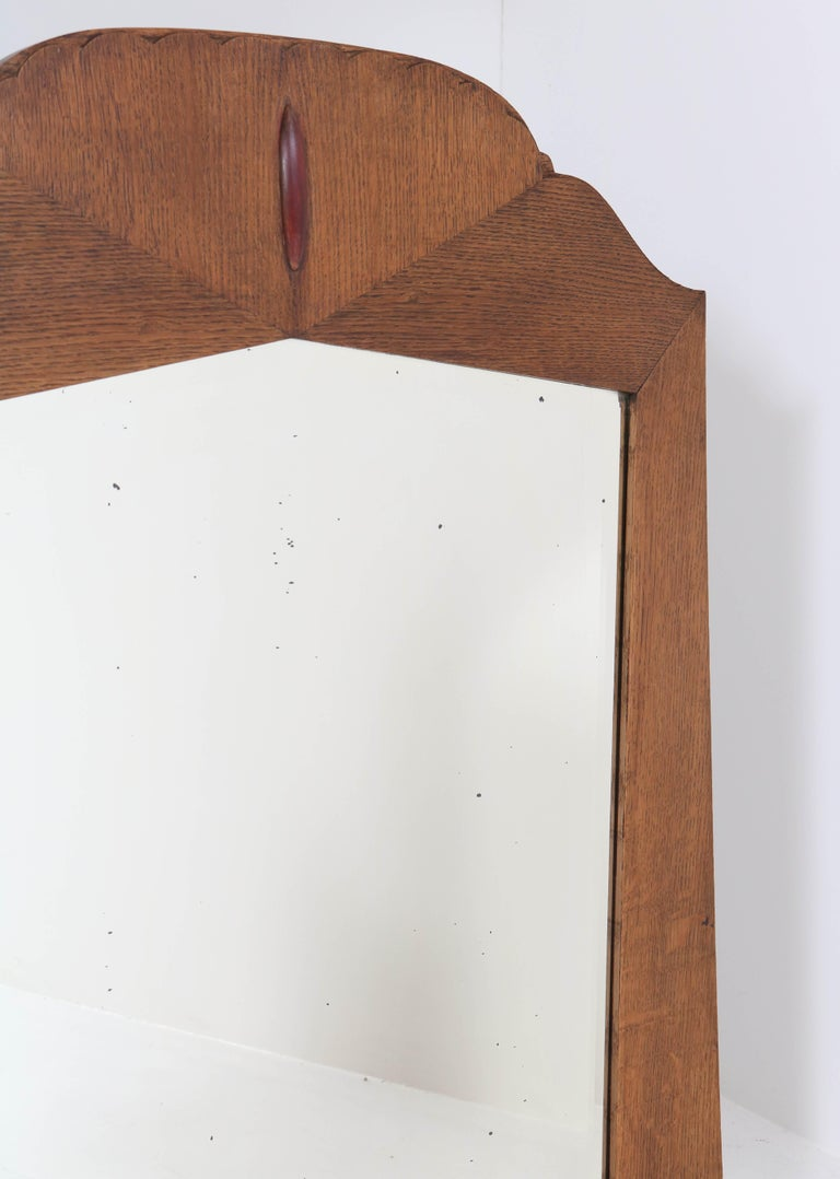 Oak Art Deco Amsterdam School Wall Mirror with Beveled Glass, 1920s For Sale 1