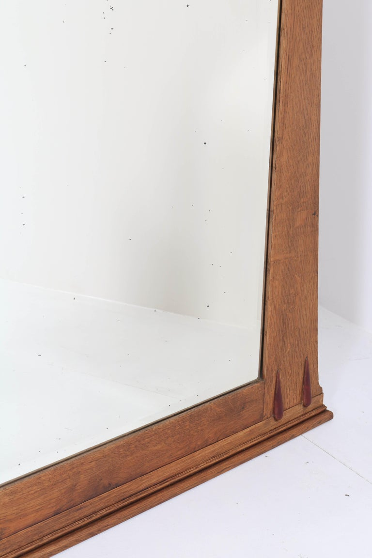 Oak Art Deco Amsterdam School Wall Mirror with Beveled Glass, 1920s For Sale 2