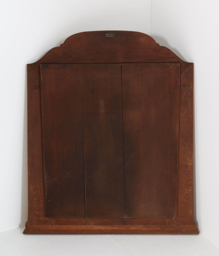 Oak Art Deco Amsterdam School Wall Mirror with Beveled Glass, 1920s For Sale 3
