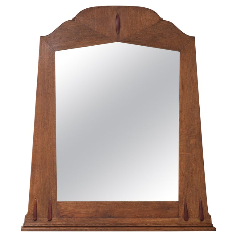 Oak Art Deco Amsterdam School Wall Mirror with Beveled Glass, 1920s For Sale