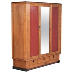 Oak Art Deco Amsterdam School Wardrobe or Armoir by J.J. Zijfers Amsterdam, 1925