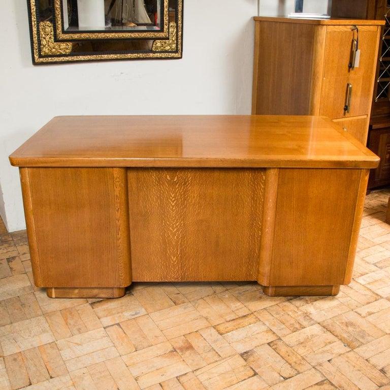 Oak Art Deco Desk with Bronze Handles For Sale 5