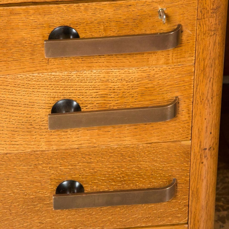 English Oak Art Deco Desk with Bronze Handles For Sale