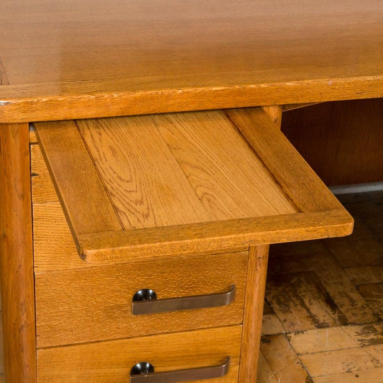 Oak Art Deco Desk with Bronze Handles In Good Condition For Sale In London, GB