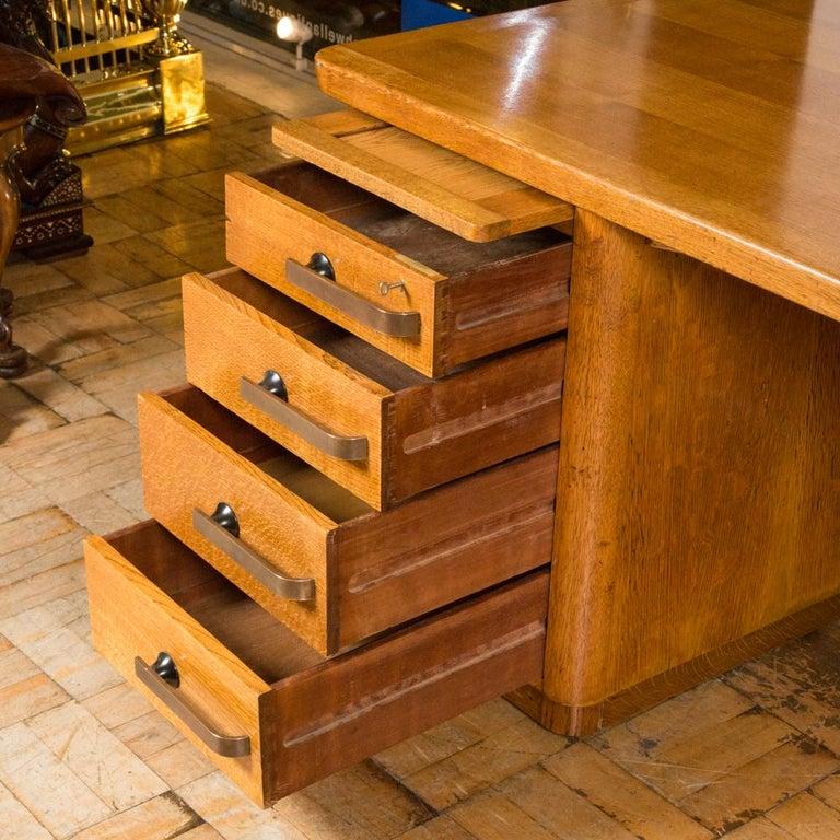 20th Century Oak Art Deco Desk with Bronze Handles For Sale