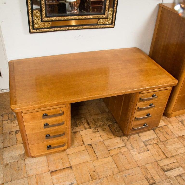 Oak Art Deco Desk with Bronze Handles For Sale 3