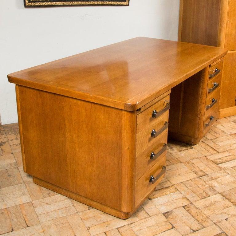 Oak Art Deco Desk with Bronze Handles For Sale 4