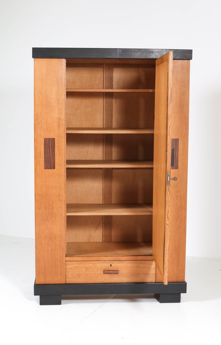 Glass Oak Art Deco Haagse School Armoir or Wardrobe by Anton Lucas Leiden, 1920s For Sale