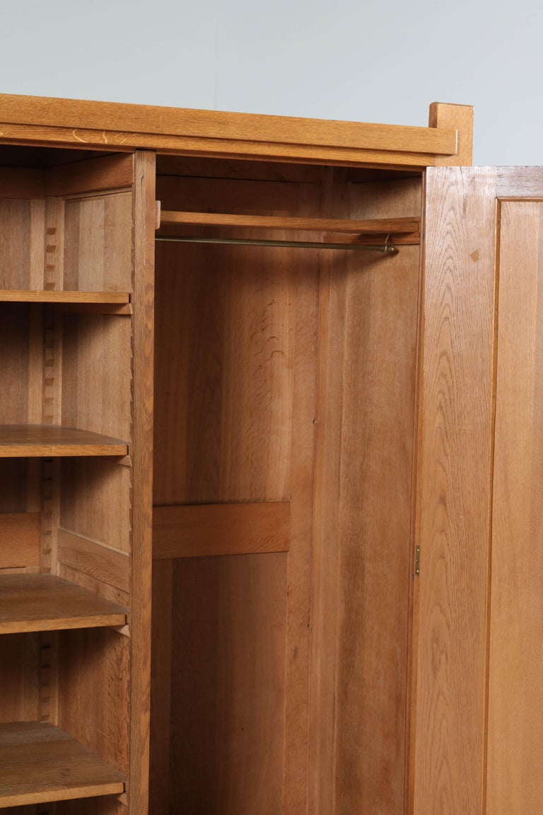 Oak Art Deco Haagse School Armoir or Wardrobe by Henk Wouda for Pander, 1924 For Sale 6