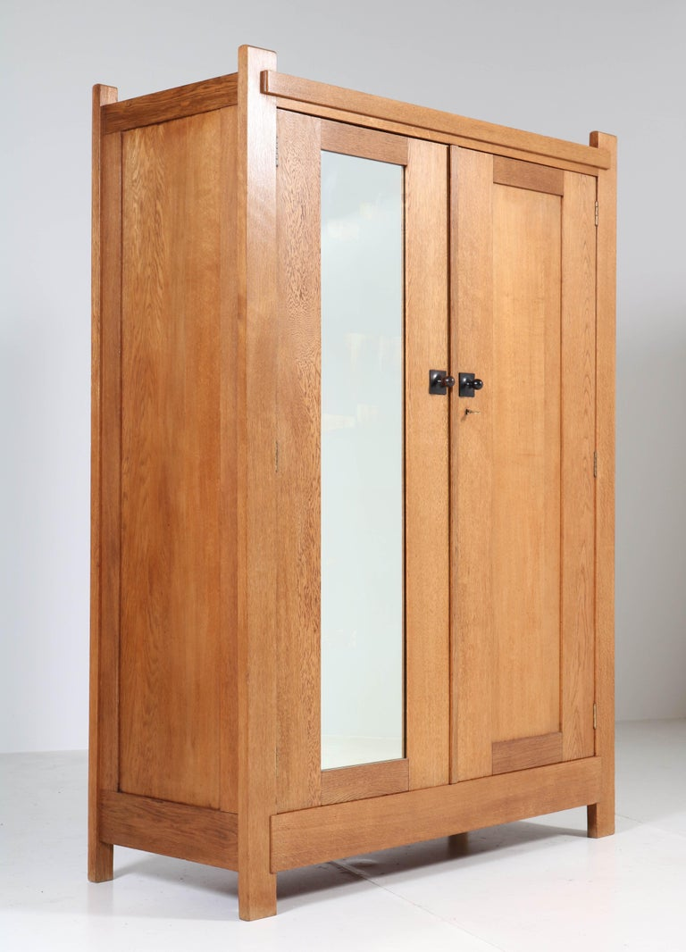 Dutch Oak Art Deco Haagse School Armoir or Wardrobe by Henk Wouda for Pander, 1924 For Sale