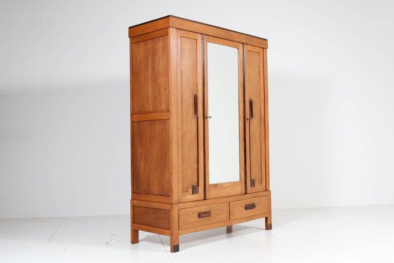 Dutch Oak Art Deco Haagse School Armoire or Wardrobe, 1920s For Sale